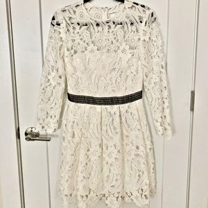 Cynthia Rowley Long Sleeve Fit & Flare Lace Dress